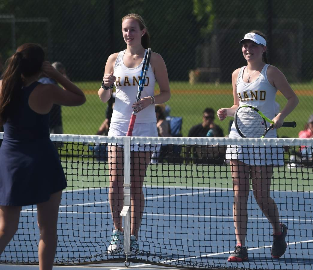 Anna Lang and Claire Langille reached the doubles final on behalf of the Hand girls' tennis team at the State Open Championship last week. File photo by Kelley Fryer/The Source