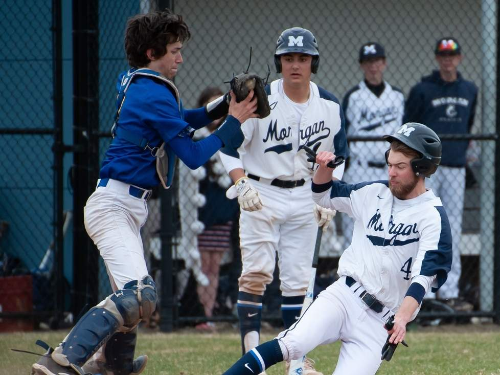 Senior captain AJ Fritz and the Morgan baseball team overcame a slow start to qualify for the postseason this spring. Fritz sported a .379 batting average to with 15 runs scored and 10 RBI for the Huskies. File photo by Kelley Fryer/Harbor News