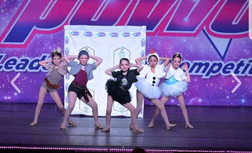 The Westbrook Dance Academy Mini team featuring (back) Kylee Pascale (Old Saybrook), Sophie Furcolo (Westbrook), Julianna Robinson (Essex); (middle) Briella Dean (East Haddam) and Sofia Taylor (Old Saybrook); (front) Mia Stowik (Westbrook), Alexa Cardello (Old Saybrook), and Cassandra Garcia (Old Saybrook) will perform Born to Be Wild at the World Dance Championships that are being held from Tuesday, July 30 through Sunday, Aug. 4. Photo courtesy of Westbrook Dance Academy