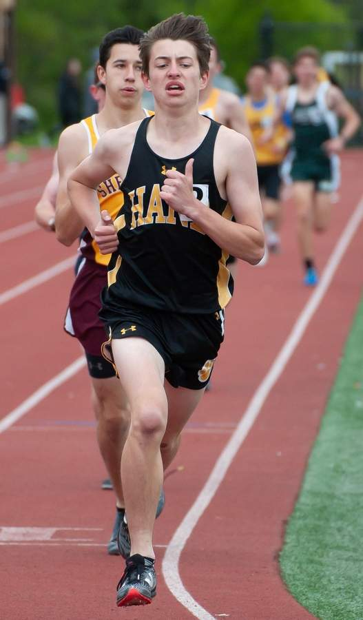 Hand's Dante Zucconi finished 14th in the 3,000-Meter Steeplechase State Championship in Manchester on June 12. File photo by Kelley Fryer/The Source