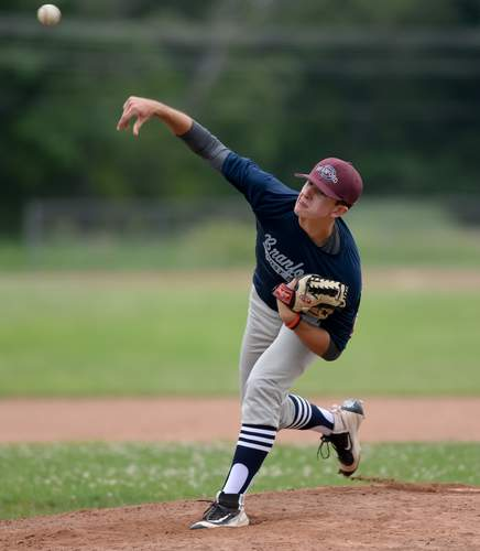 Zane Kmietek and the Branford Senior American Legion baseball team started off divisional play with a 13-2 home win over Madison on June 11. File photo by Kelley Fryer/The Sound