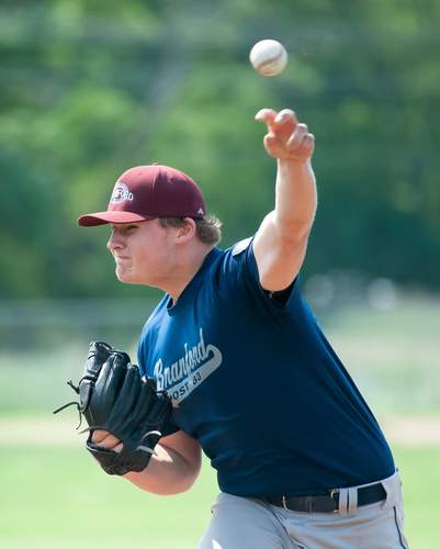 Eddie Zanor tossed a complete game when the Branford Senior Legion baseball team notched a 5-3 win against New Haven in the first game of a doubleheader on June 22. Photo by Kelley Fryer/The Sound