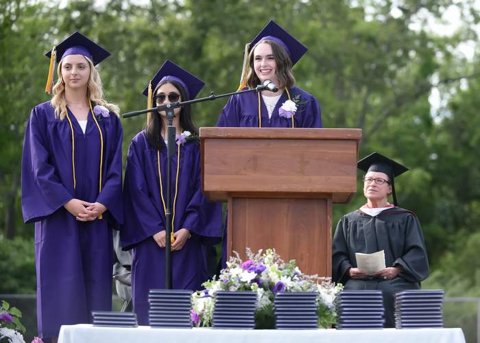 Marissa McNary, Allyssa Sirisoukh, and Katelyn Wallace give the Class of 2019 Dedication. Photo by Kelley Fryer/Harbor News  Find many more photos from the ceremony at Zip06.com.