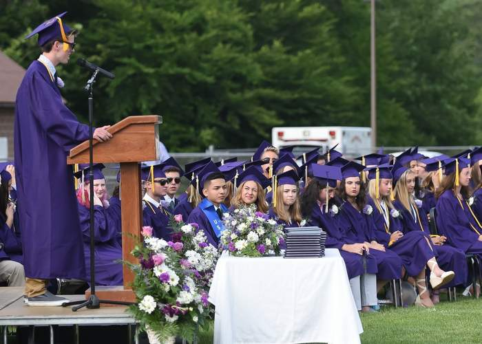 Finian McGannon gave his valedictory address. Photo by Kelley Fryer/Harbor News