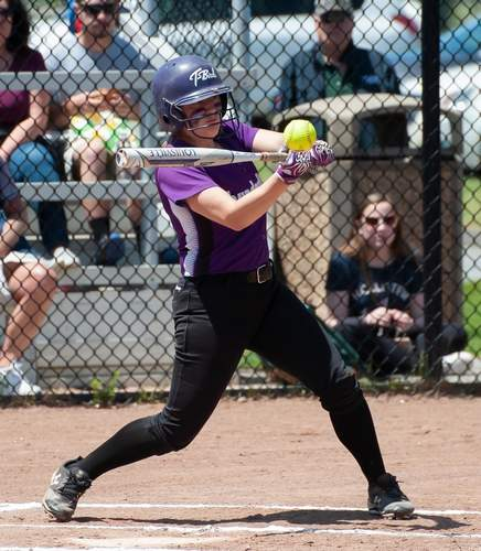 Senior captain Angelina Ramada turned in a .400 batting average and collected MVP honors for the North Branford softball team this spring. Despite having a younger roster than usual, the T-Birds still claimed the Shoreline Conference title for the fifth year in a row during the 2019 campaign. File photo by Kelley Fryer/The Sound
