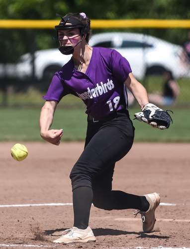 Freshman Bella Hills was cool as ice on the mound down the stretch for the T-Birds this spring. Hills pitched North Branford to victory in all three of its games in the Shoreline Conference Tournament, including a 5-3 win against Valley Regional in the final. File photo by Kelley Fryer/The Sound