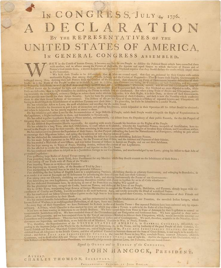 "The Beinecke Rare Book & Manuscript Library in New Haven will roll out its copy of the document that started it all, the Declaration of Independence. They also will be doing a reading of it on Friday, July 5, along with a Frederick Douglass oration, now remembered as ""What to the Slave is the Fourth of July,"" and will be offering a related exhibit as well.  Photo courtesy of the National Archives"