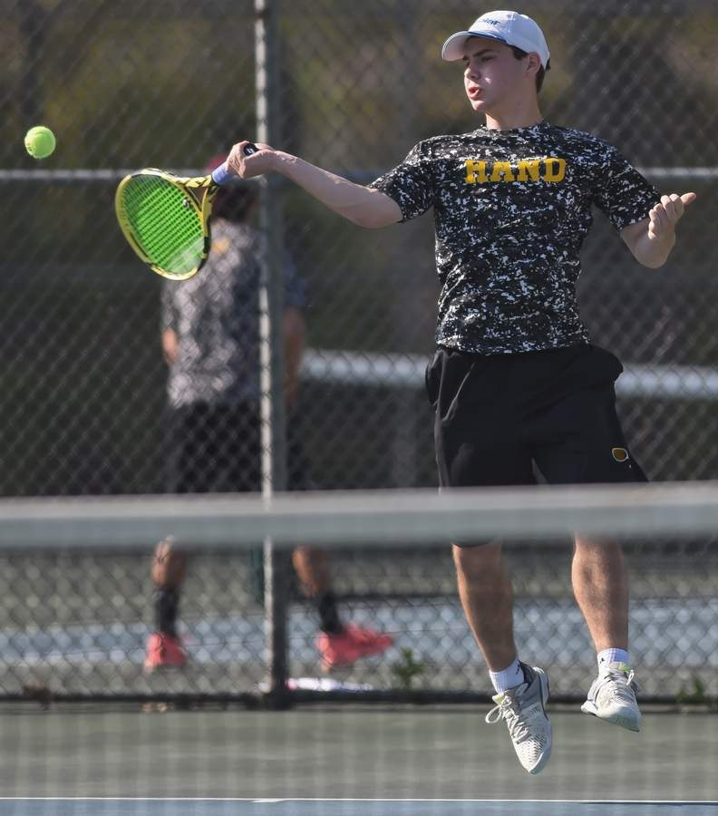 Sophomore Josh Israel played No. 1 singles for the undefeated SCC champion Hand boys' tennis team this season. Israel collected a bevy of honors for his performance, including being named the SCC Player of the Year and the New Haven Register's All-Area MVP. File photo by Kelley Fryer/the Source