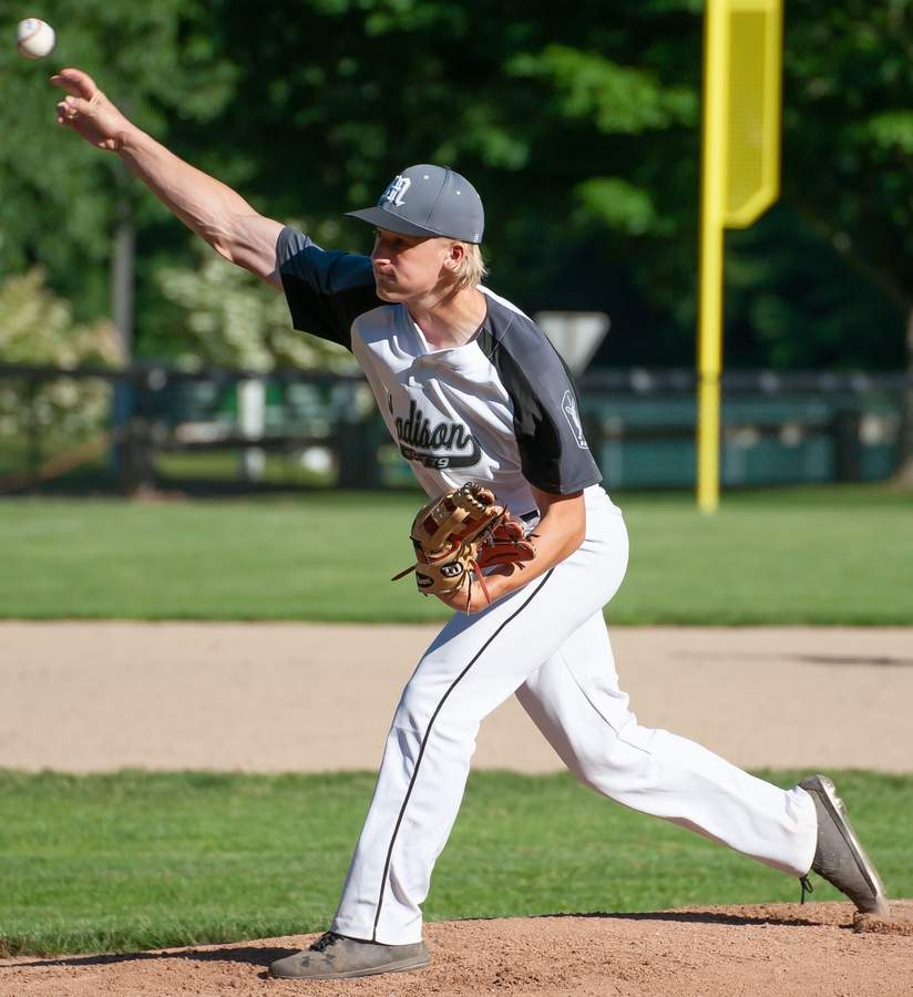 Aiden Patrick and the Madison Senior Legion baseball team won four of their five matchups in recent action to move to 7-12 on the year. File photo by Kelley Fryer/The Source