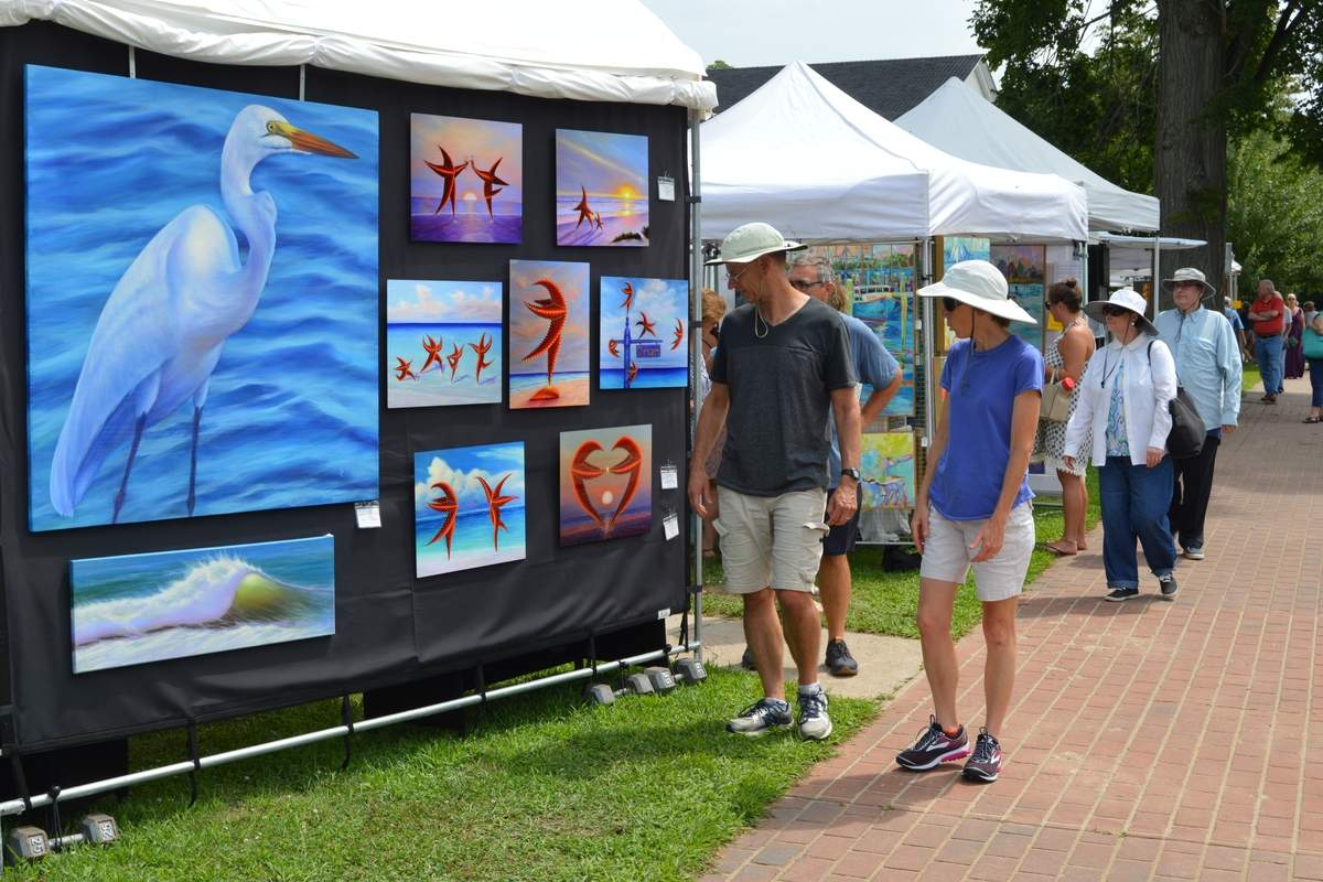 Attendees at Old Saybrook's two-day arts festival are treated to a wide array of fine art and hand-crafted work in this juried show. Photo courtesy of the Old Saybrook Chamber of Commerce