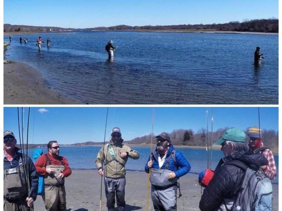 Saltwater fly fishing is popular, relaxing and, at the same time, challenging. Here, this group is taught how to improve skills by certified instructors like John Bilotta (fourth from the left). Photo illustration courtesy of Captain Morgan