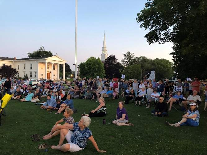 An estimated 200 turned out for a Lights for Liberty rally in Branford, one of approximately 20 across the state and among hundreds held nationwide on July 12.  Kelley Fryer/The Sound