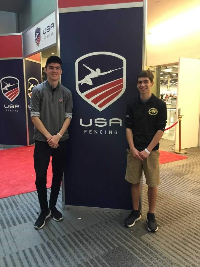 Hand fencers Mikey Hilmer and Daniel Ginsburg competed in the United States Fencing Association's National Tournament in Ohio. Photo courtesy of Michael Ginsburg