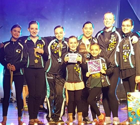 The Astra Studio of Dance and Performing Arts turned in several solid performances and collected plenty of awards at the Starbound National Finals Competition at Foxwoods. Pictured are (front) Sadie Heiser (Chester) and Elleyana Barbieri (Old Saybrook); (back) Emma Elgart (Old Saybrook), Vivi Heiser (Chester), Emma Golembeski (Gales Ferry), Victoria Le (Clinton), Callie Andrews (Clinton), and Jillian Pernal (Old Saybrook). Photo courtesy of Astra Studio of Dance and Performing Arts