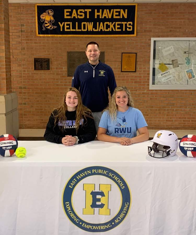 Diana Kalman and Taylor Myers are excited to continue their athletic careers at the collegiate level. Pictured are Kalman and Myers with East Haven High School Athletic Director Anthony Verderame. Photo courtesy of Anthony Verderame