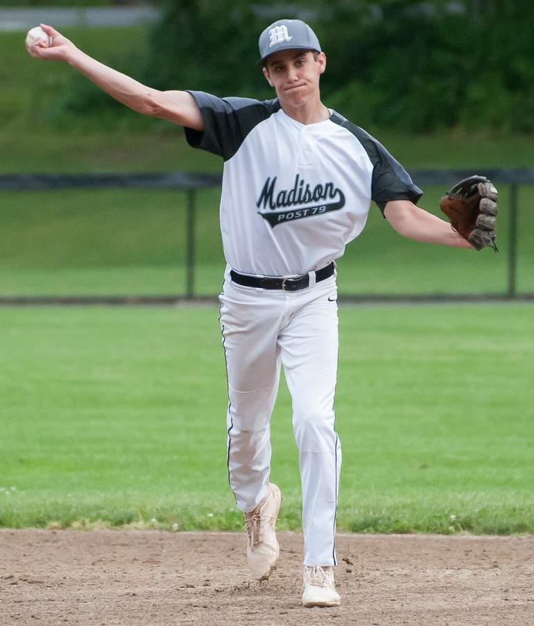 Michael Engelhart and the Post 79 Junior Legion baseball squad moved to third place in the Zone 2 standings after recording a few more victories last week. File photo by Kelley Fryer/The Source