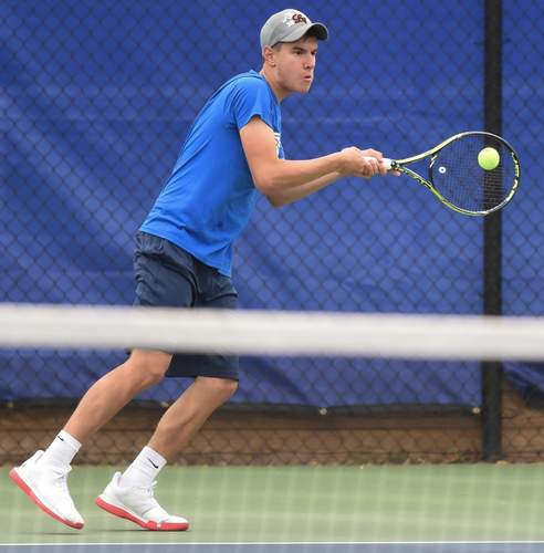Senior captain Chris Nuzzo and the Morgan boys' tennis team turned in a record of 14-4 during the regular season this year. Nuzzo teamed up with fellow senior captain Garrett Johnson to reach the final in the doubles bracket at the Class S State Championship. File photo by Kelley Fryer/Harbor News