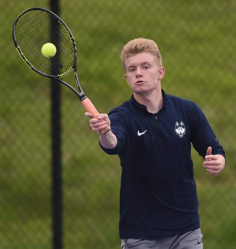 Senior Liam Whelan (pictured) and sophomore Zach Johnson played No. 1 doubles for the Huskies and made it to the third round of the Class S State Championship doubles bracket this year. File photo by Kelley Fryer/Harbor News