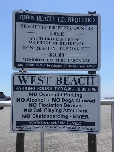 Out-of-town parking at Westbrook's public beaches—and at the Town Hall—has some residents petitioning for a change.   Photo by Aviva Luria/Harbor News