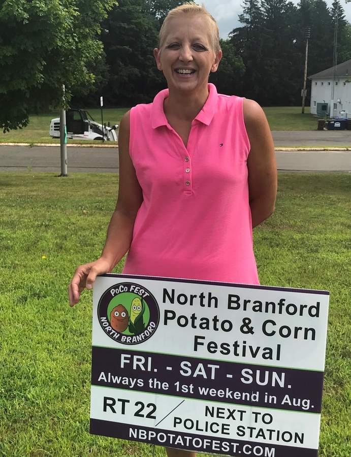 "From learning to call it ""POCO"" like a local, to bringing her years of experience planning events for companies including Disney and ESPN, North Branford's new Potato and Corn Festival (POCO) coordinator Gayle McMillan and her valued team of volunteers are ready to wow the crowds with new excitement and favorite staples at the 18th annual POCO Festival coming to Augur's Field from Friday to Sunday, Aug. 2 to 4.  Photo by Pam Johnson/The Sound"