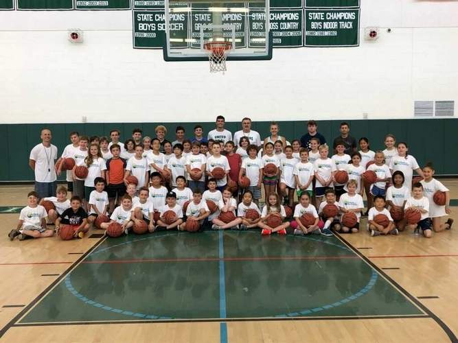 The Guilford Parks and Rec Department held a youth basketball camp that saw 100 kids participate under the guidance of Indians' hoops coaches Jeff DeMaio and Bob Welsh. Photo courtesy of Bob Welsh