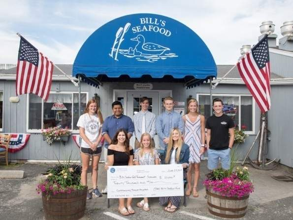 Bill's Seafood Restaurant recently handed out its annual scholarship awards. Pictured are (back) Ella Franzoni (Clinton), Luis Antonio Castro (Old Saybrook), Dylan LaPlace (Chester), David McCain (Westbrook), Amanda Beck (Old Saybrook), and Michael Menacho (Clinton), along with (front) Lauren Salbinski (Essex), Avery Bauman (Westbrook), and Alexandra Ruel (Ivoryton). Photo courtesy of Devlin Photography