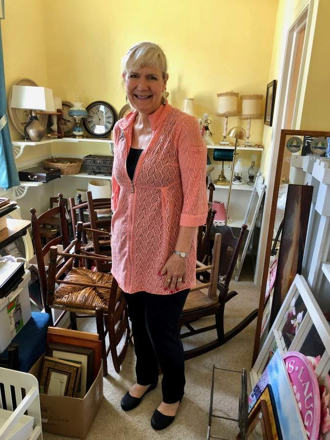 A native Texan, Margaret Paulsen has found a welcoming home in New England, and in particular at the Deep River Congregational Church, for which Margaret is organizing the annual Rummage Sale coming Saturday, Aug. 17. Photo by Rita Christopher/The Courier