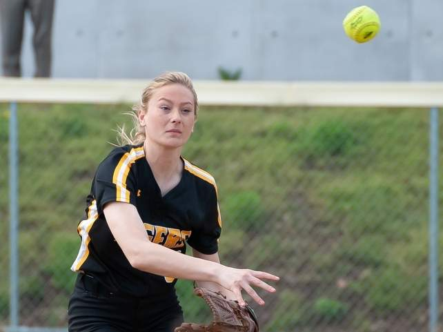 Senior co-captain Catherine Patrick and the Hand softball team made nice strides on their way to capturing 11 wins and earning a pair of playoff bids this spring. File photo by Kelley Fryer/The Source
