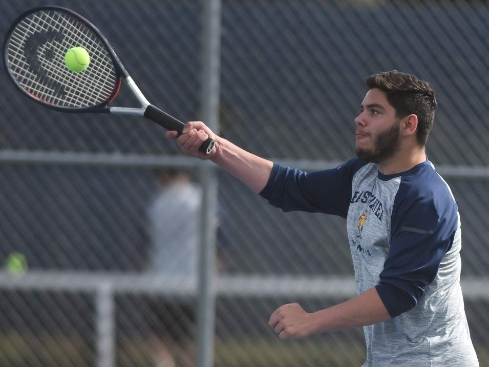 Joe Brown led the East Haven boys' tennis team as a senior captain this year and also qualified for the Class M State Championship alongside doubles parter Matt DiVito. File photo by Kelley Fryer/The Courier