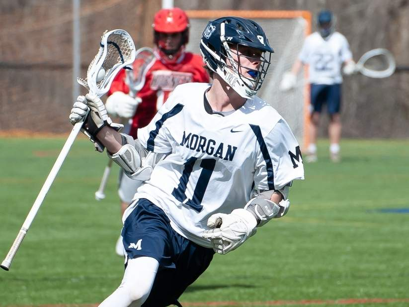 Senior captain Ryan Caldwell and the Morgan boys' lacrosse team tallied 11 wins in 2019, including a trip to the Shoreline Conference Tournament final. Caldwell earned the Huskies' Most Valuable Offensive Player Award after scoring 47 goals to go with 16 assists on the campaign. File photo by Kelley Fryer/Harbor News