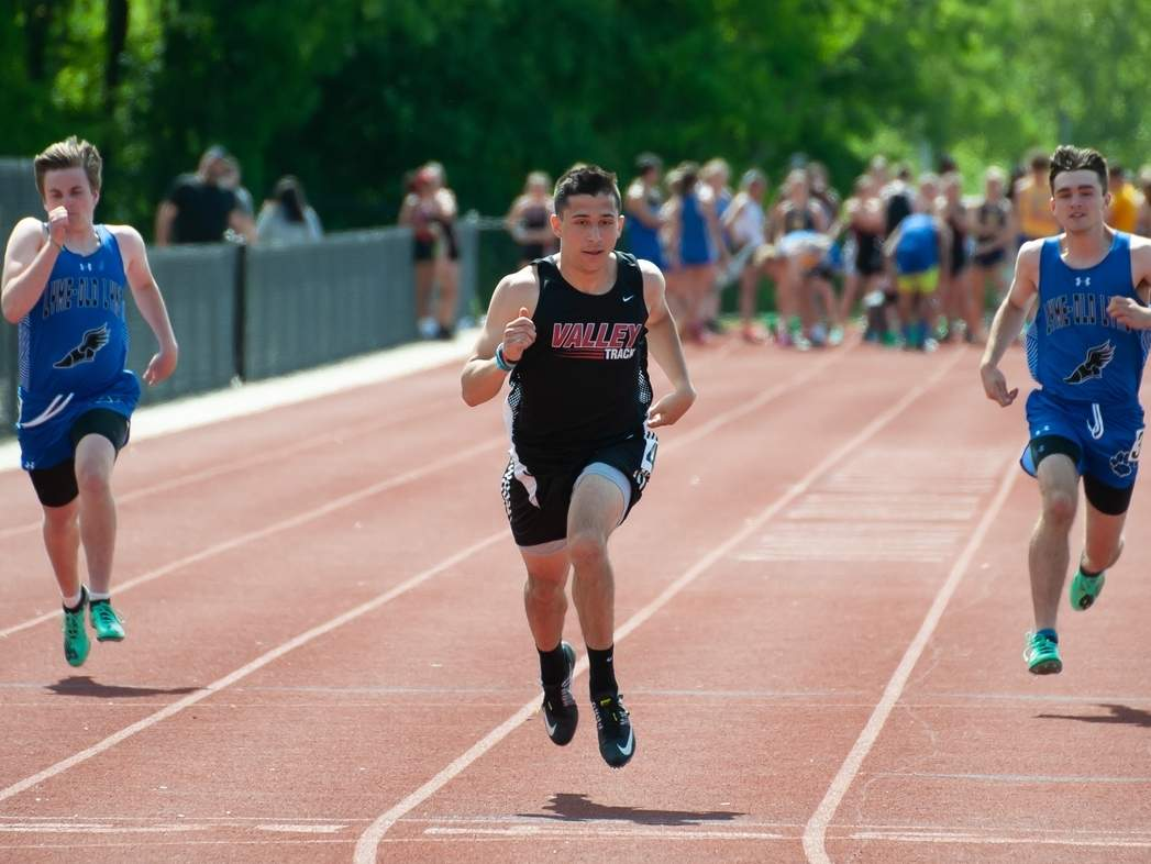 Senior captain Nick Braga and the Valley Regional boys' outdoor track team turned in another strong season by earning fourth place overall at the Shoreline Conference Championship meet. Braga contributed to that effort with a first-place finish in the 100-meter dash in a time of 11.2 seconds. File photo by Kelley Fryer/The Courier