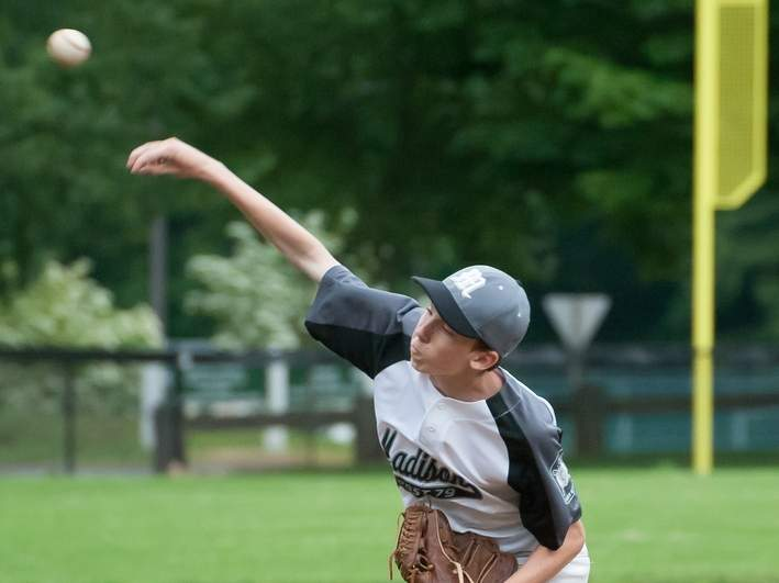 Jeffrey Pinover and the Madison Junior Legion baseball squad staved off elimination in states to move into the Bethel Regional portion of the tournament. File photo by Kelley Fryer/The Source