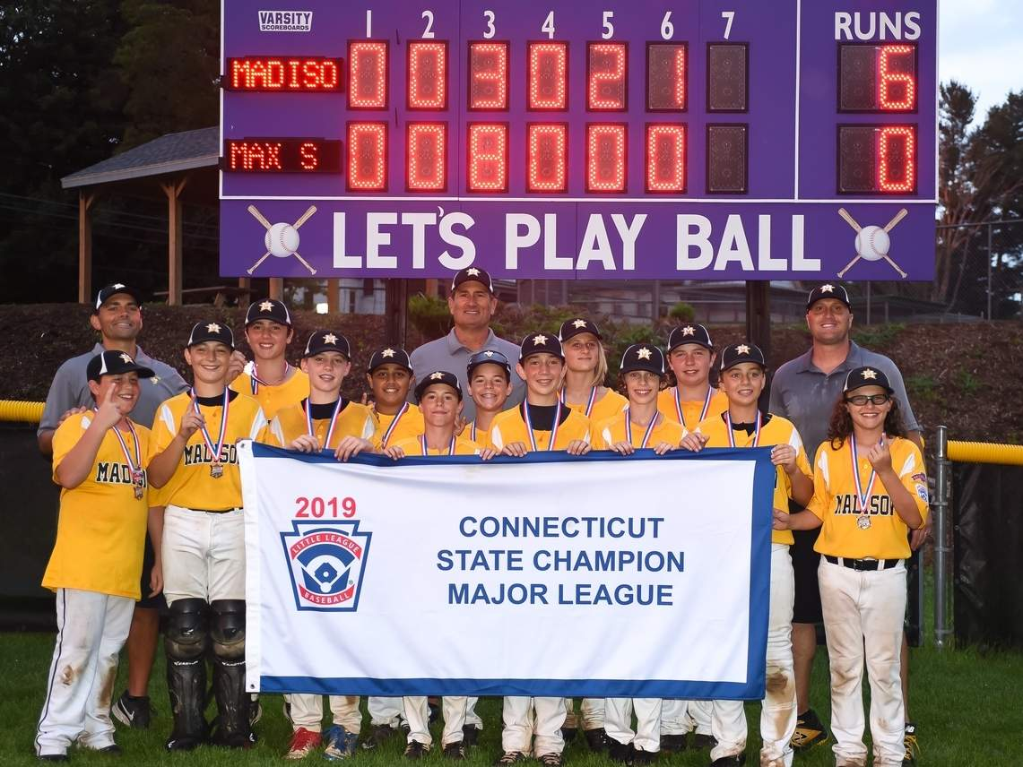 The Madison Little League Majors baseball squad won the state title for the first time by posting a 6-0 shutout over North Haven in the final of the State Tournament July 31. Madison is competing in the New England Regional this week. Photo by Kelley Fryer/The Source