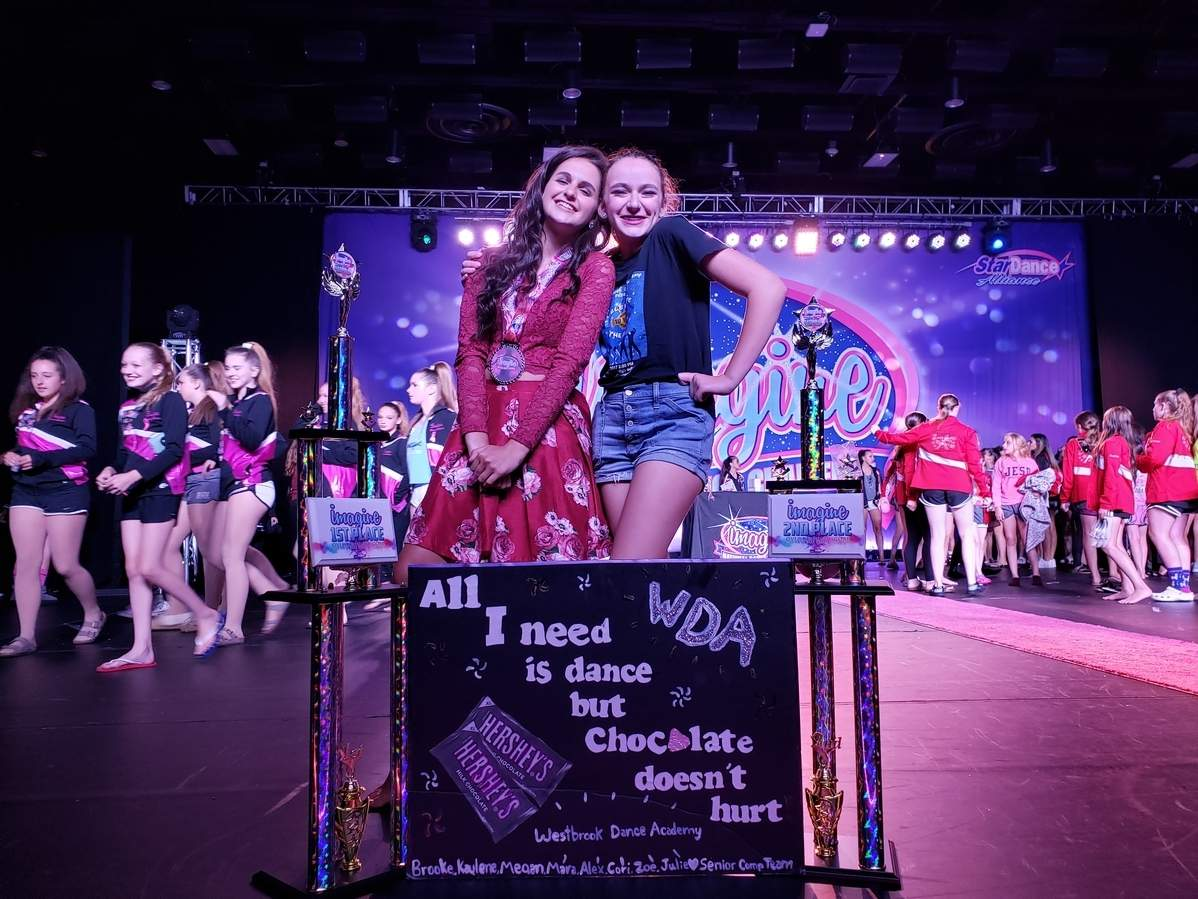 Westbrook Dance Academy competed at the Imagine Dance Challenge Nationals in Hershey, Pennsylvania last month. Brooke Dellarocco of Chester took home a national championship at the event, while Madison's Sylvia Sonenstein earned second place in the 12-and-Up Vocal Division. Photo courtesy of Westbrook Dance Academy