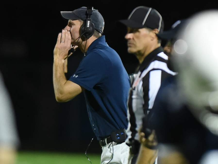 Head Coach Peter Nye and the Morgan football team will kick off the 2019 season by playing a road game against Valley Regional-Old Lyme in Deep River on Friday, Sept. 13. File photo by Kelley Fryer/Harbor News