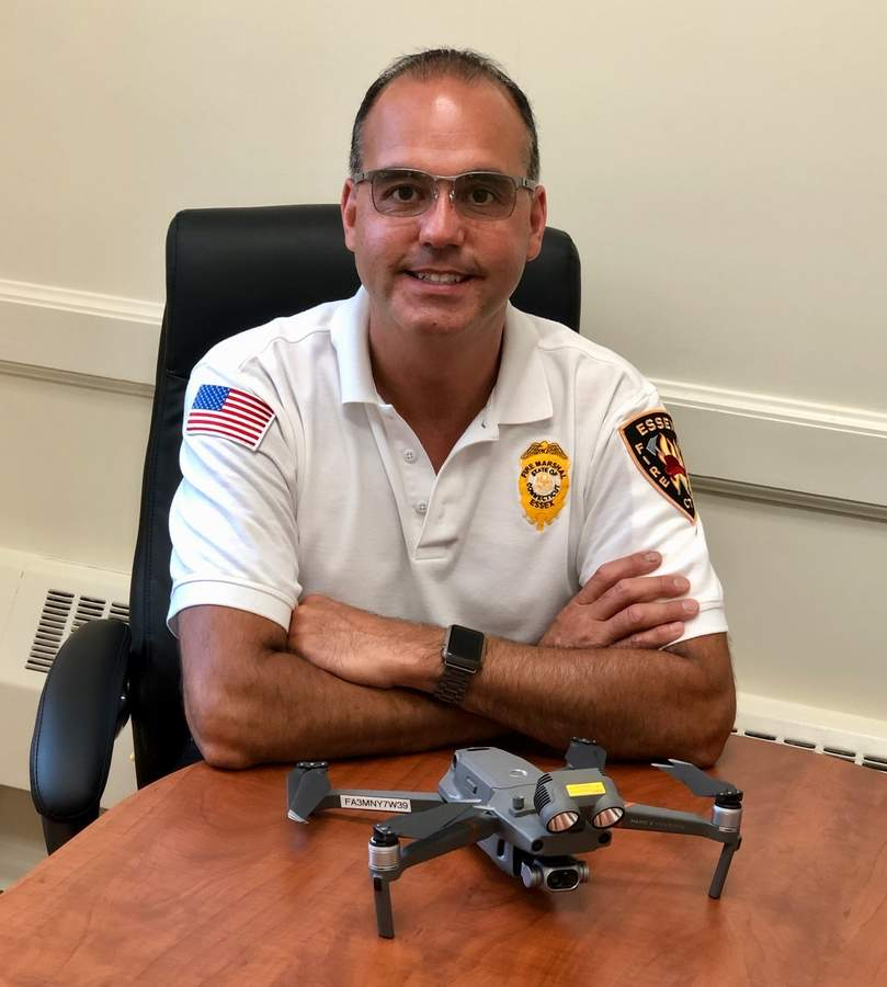 The fire department's only currently licensed drone operator, Essex Fire Marshal John Planas explains that gear like the drone and the recently approved new fireboat can make a major difference in rescues and fire suppression. Photo by Rita Christopher/The Courier