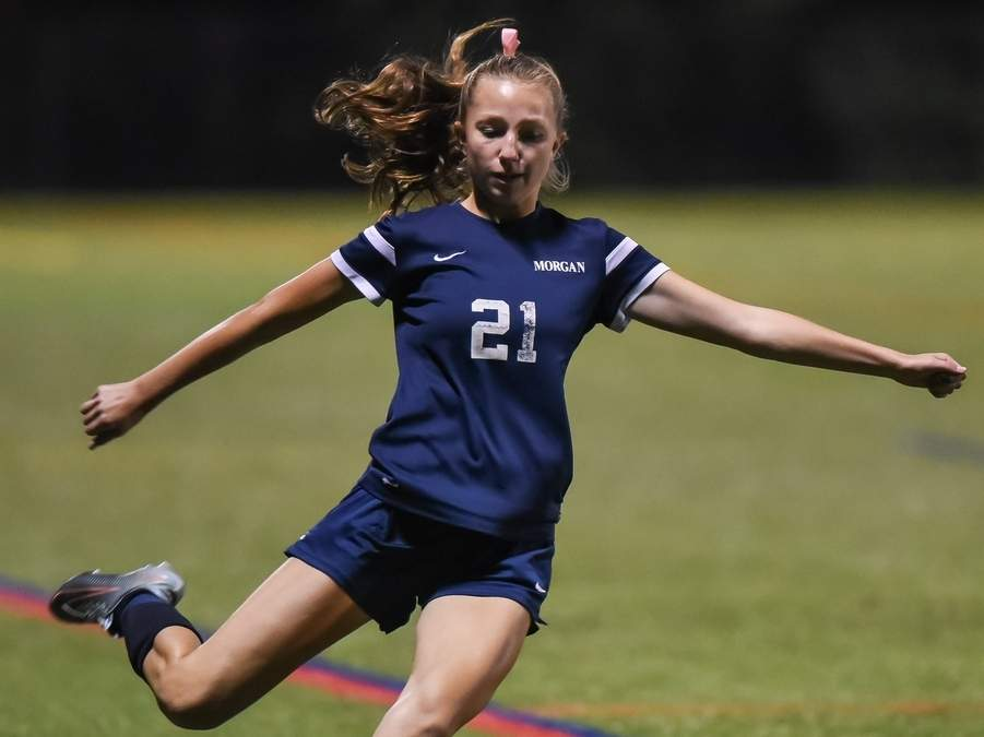 Olivia Swan and the Morgan girls' soccer team will open the fall season by playing a road game against Shoreline Confernece rival Cromwell on Thursday, Sept. 12. File photo by Kelley Fryer/Harbor News
