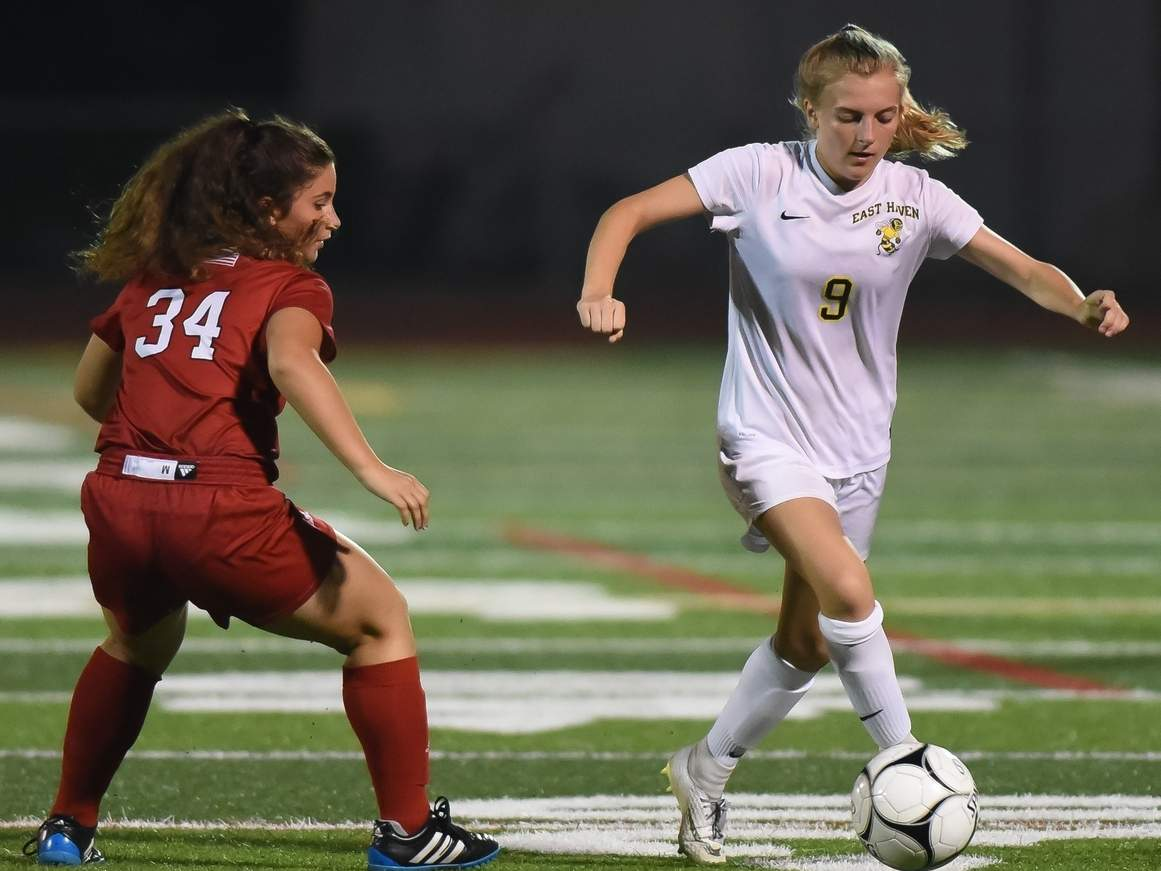 Kate Pycela and the East Haven girls' soccer squad are hosting Rt. 80 rival North Branford for their first game of the fall season on Friday, Sept. 13. File photo by Kelley Fryer/The Courier