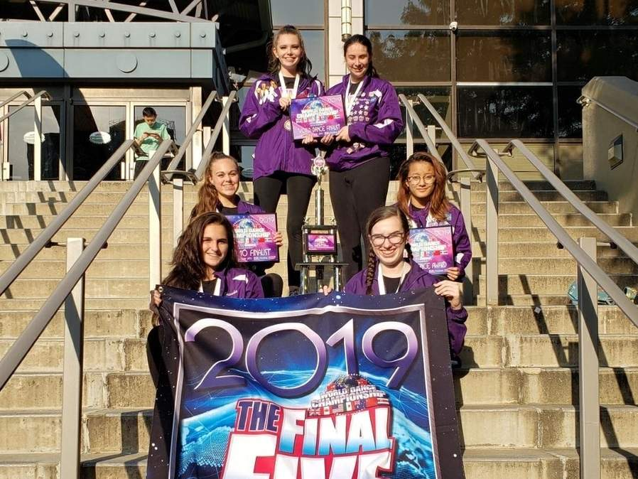 The Westbrook Dance Academy's Senior competition team came in fifth place in its division at the World Dance Championships in New Jersey. Pictured are (front) Brooke Dellarocco (Chester) and Mara Kelley (Old Saybrook); along with (middle) Megan Murphy (Old Saybrook) and Alixandria Giannini (Old Saybrook); and (back) Brandi Andrade (Westbrook) and Kaylene Koelle (Clinton). Photo courtesy of Westbrook Dance Academy