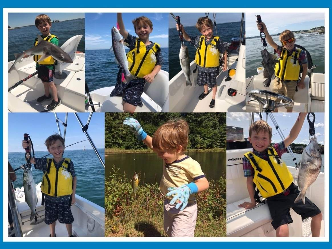 Madison's Nicholas Dietz, 8, started fishing when he was 3 and continues to rack up impressive catches on Long Island Sound. Photo illustration courtesy of Captain Morgan
