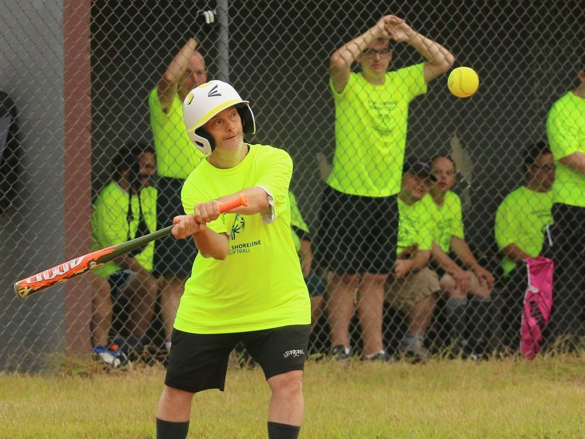 Clinton resident Paul Bulawa and his teammates in the Special Olympics Central Shoreline program are participating in the softball competition at the 2019 Special Olympics Connecticut Unified Sports Fall Festival this week. The softball competition is taking place at Kennedy Memorial Field in East Haven on Saturday, Sept. 7 and the Connecticut Sportsplex in North Branford on Sept. 7 and Sunday, Sept. 8. Photo by Denise Ciccarelli