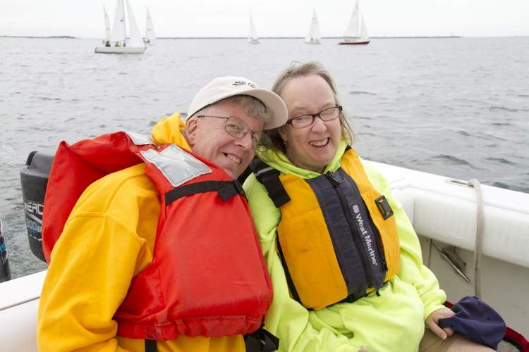 Athletes John Woods of Madison and Theresa McSparran from Guilford will compete in sailing during the upcoming Special Olympics Unified Sports Fall Festival. Woods and McSparran are both members of the local Special Olympics Central Shoreline program. Photo by Chad Lyons