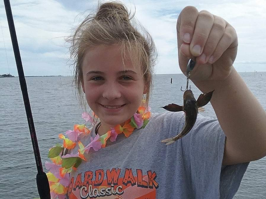 Josie Oleary of Pauling, New York hooked into this mini sea robin, proving that a day on the water and the size of the smile matters more so than the size of the fish. Photo courtesy of Captain Morgan