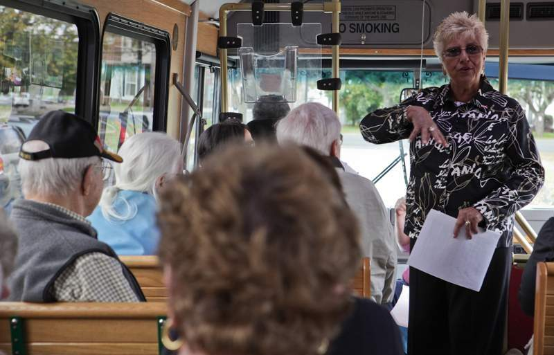 Among her many community commitments, Pat Buonpane leads tours for the North Haven Historical Society.   File photo by Jessica Smith/The Courier