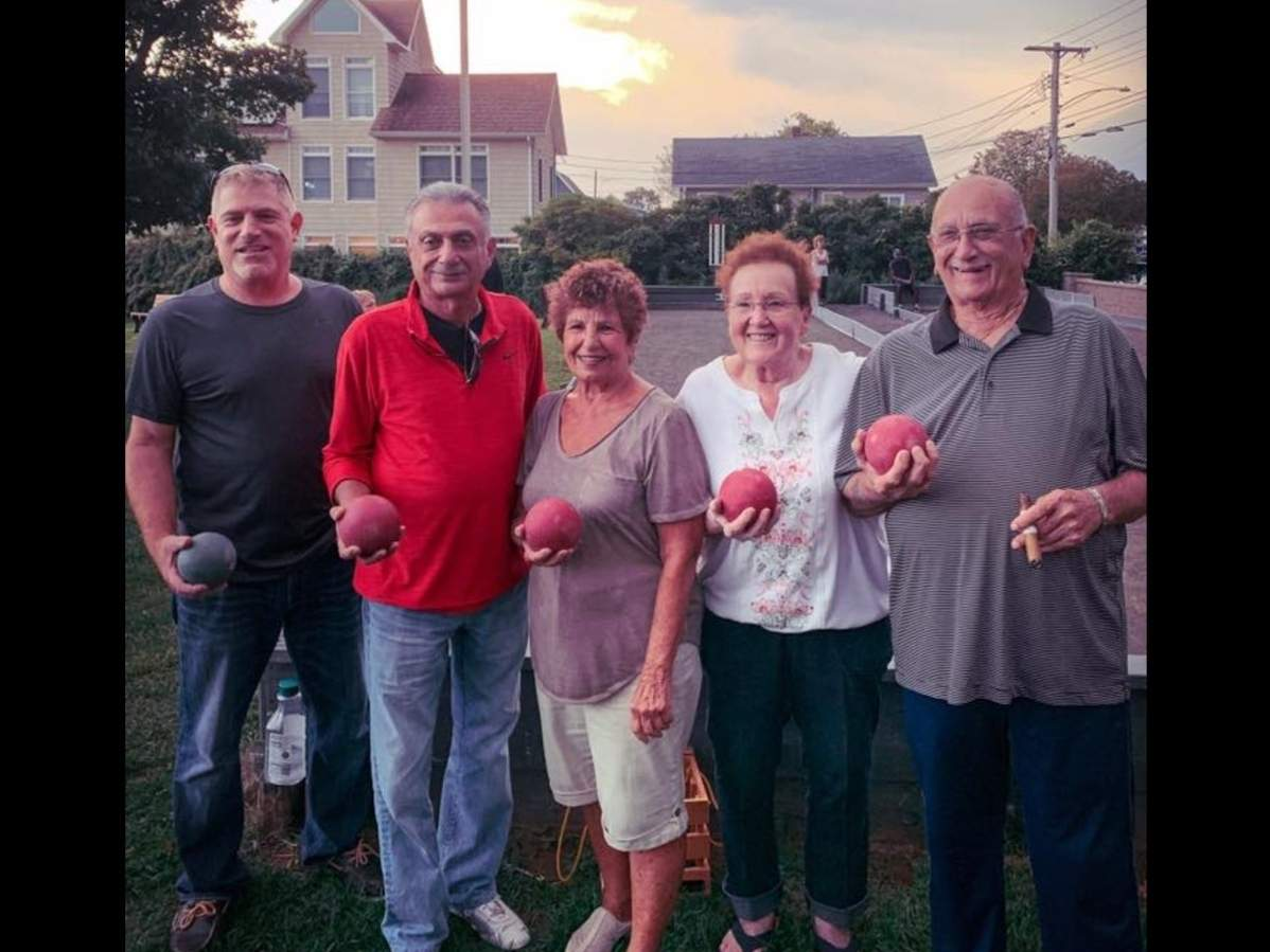 The quintet of Bobby Scalese, Ralph DiCaprio, Peggy Vollono, Carol Mazzerelli, and Mike Buglione finished first in the East Haven Tuesday Night Bocce League this year. Photo courtesy of Peggy Vollono