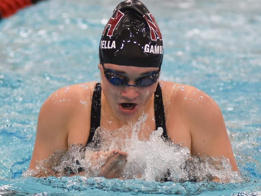 Senior captain Angela Gambardella leads a North Haven girls' swimming and diving team that is stacked with talent and looking to bring home the first state title in program history this fall. File photo by Kelley Fryer/The Courier