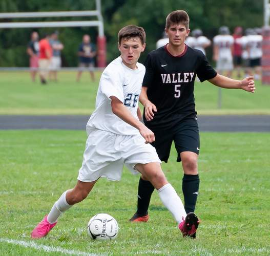 Zach Tuccitto (left) and the Morgan boys' soccer team began their year by notching wins over Valley Regional and Waterford last week. Photo by Kelley Fryer/Harbor News