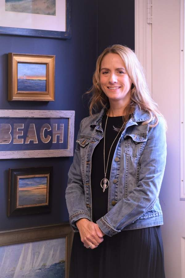 Alyssa Ingram is a newly elected member of the board of the Madison Art Society and the owner of The Frame Shop on Wall Street where she displays some of her art work and takes care of her clients' picture framing needs. Photo by Maria Caulfield/The Source