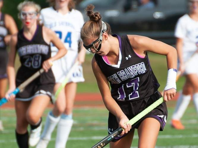 Senior captain Ali Barrett was a playmaker for the North Branford field hockey team in its victory over Valley Regional last week. Barrett scored two goals and set up a few others to help the T-Birds get the 6-0 victory. File photo by Kelley Fryer/The Sound