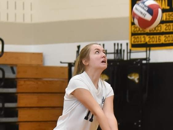Addy Duquette and the H-K volleyball squad improved to 6-4 after winning two of three during last week's action. Photo by Kelley Fryer/The Source